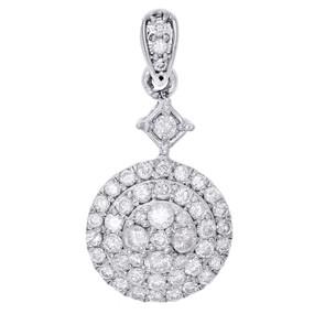 "10K White Gold Diamond Cluster Fancy Statement Dangle Pendant 1"" Charm 0.82 CT."