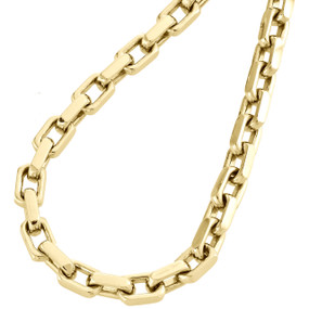 14K Yellow Gold Solid Handmade Rectangle Square Link Chain 5.75mm Necklace 24""