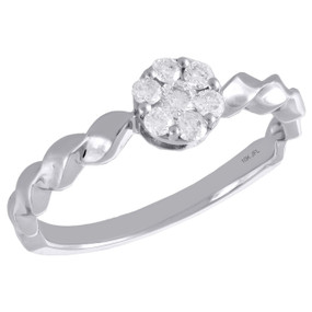 10K White Gold Diamond Flower Cluster w/ Braided Shank Right Hand Ring 1/4 Ct.