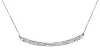 "10K White Gold Round Diamond 2 Row Bar Necklace Ladies Curved Chain 20"" 0.33 Ct."