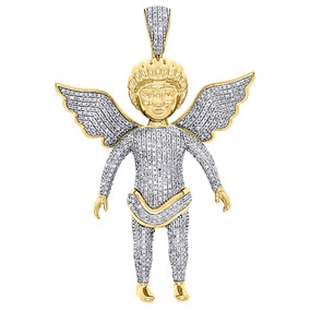 10K Yellow Gold  Natural Diamond Angel Flying Wings Mens Pendant Charm 1.40 Ct.