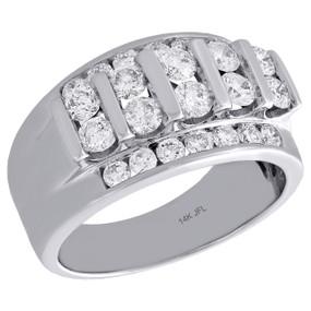 14K White Gold Round Diamond Mens Wedding Band Tier Design Engagement Ring 2 Ct.