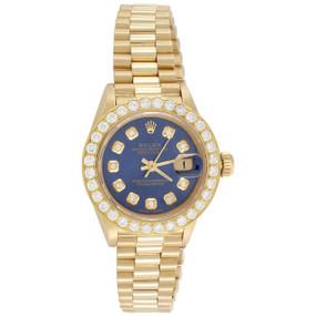 Rolex 18K Gold 26mm President DateJust 69178 Diamond Watch Blue Dial 1.38 CT.