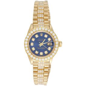 Rolex 18K Gold 26mm President DateJust 69178 VS Diamond Watch Blue Dial 3.70 CT.