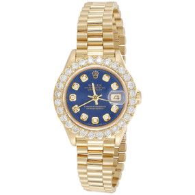 Rolex 18K Gold 26mm President DateJust 69178 VS Diamond Watch Blue Dial 2.08 CT.