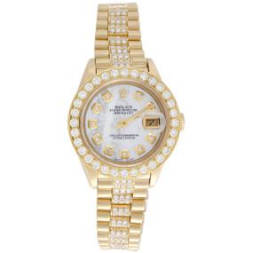 Rolex 18K Gold President 26mm DateJust 69178 VS Diamond White MOP Watch 3.70 CT.