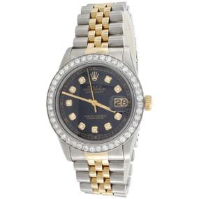 Men's 36mm Rolex DateJust Diamond Watch 18K Two Tone Jubilee Black Dial 2 CT.