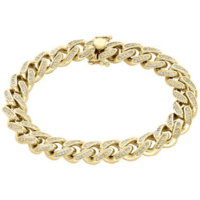 10K Yellow Gold 11.35mm Solid Miami Cuban Link Diamond Bracelet 8.50"