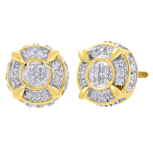 84e749a906d5f 10K Yellow Gold Round Cut Diamond 3D Circle Studs 9mm Pave Earrings 0.25 Ct.