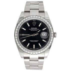 Men's Rolex DateJust 41 Diamond Watch Ref. # 126300 Black Stick Dial 2.20 CT.