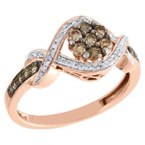10K Rose Gold Brown Diamond Wedding Engagement Ring Ladies Flower Halo 0.50 CT.