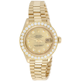 Rolex 18K Gold President 26mm DateJust 69178 VS Diamond Champagne Watch 1.38 CT.