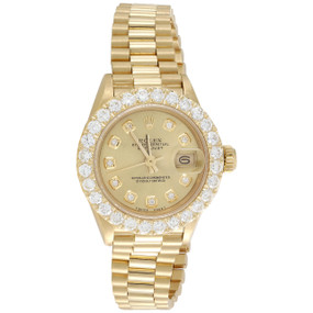Rolex 18K Gold President 26mm DateJust 69178 VS Diamond Champagne Watch 2.08 CT.
