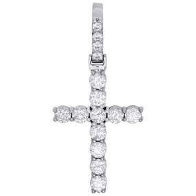 "10K White Gold Diamond Solitaire Prong Set 1 Row Cross Pendant 1.65"" | 2.10 CT."