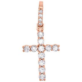 "10K Rose Gold Diamond Solitaire Prong Set 1 Row Cross Pendant 1.65"" | 2.10 CT."