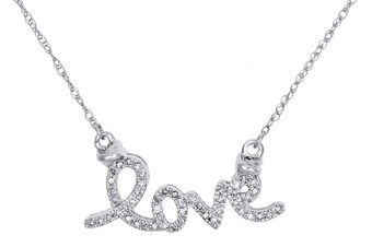 "10K White Gold Round Diamond Love Script Necklace Statement Chain 19"" 1/8 Ct."