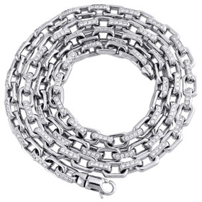 "14K White Gold Genuine VS Round Cut Diamond Fancy Rectangle Link Chain 5.75mm Hand Set 24"" Necklace 6 CT."