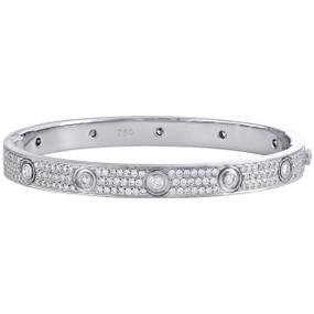 18K White Gold Genuine Round Cut Hinged Diamond Bangle 21cm Bracelet 7mm | 5 CT.