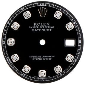 Original Refinished Black Gloss Diamond Dial Rolex Datejust 36MM Non Quick Watch