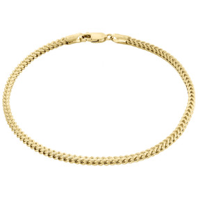 Real 10K Yellow Gold 3D Hollow Franco Box Link Bracelet 2.75mm Lobster Clasp 9""