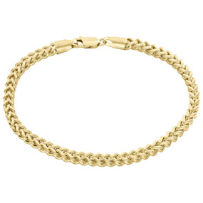 Real 10K Yellow Gold 3D Hollow Franco Box Link Bracelet 4.50mm Lobster Clasp 9""