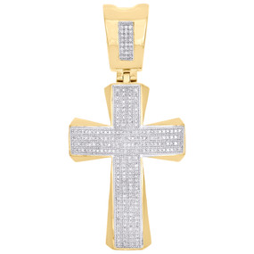 "10K Yellow Gold Genuine Diamond Wide Cross Dome Pendant 2.40"" Pave Charm 3/4 CT."