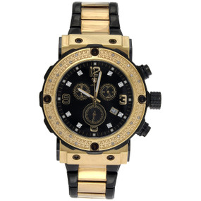 Mens Aqua Master Joe Rodeo Black PVD / Yellow Steel Diamond Watch 45mm 0.20 CT.