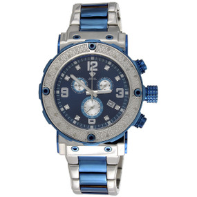 Mens Aqua Master Joe Rodeo Blue Stainless Steel Genuine Diamond Watch 0.20 CT.