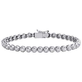 "10K White Gold Round Diamond Crown Set Solitaire Prong Set 7"" Bracelet  2.07 CT."