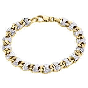 10K Yellow Gold Diamond Cut Hollow Italian 3D Puff Gucci Link Bracelet 9.50mm 8""