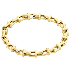 10K Yellow Gold Fancy Link Italy Made Design T Initial Unisex Bracelet 7mm | 8""