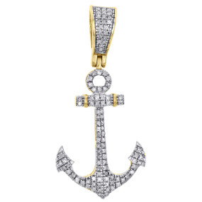 "10K Yellow Gold Real Diamond Ship Anchor Statement Pendant 1.45"" Charm 0.36 CT."