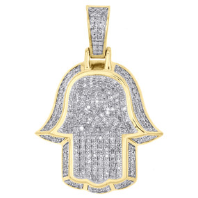 "10K Yellow Gold Genuine Diamond Ancient Hamsa Hand Pendant 1.35"" Charm 0.85 CT."