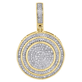 "10K Yellow Gold Genuine Diamond Tier Cirlce Medallion Pendant 1.25"" Charm 1/2 CT"