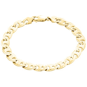10K Yellow Gold Solid Puff Gucci / Mariner 8.25mm Matte Fancy Link Bracelet 8.5""