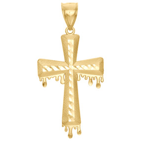 "10K Yellow Gold Diamond Cut Statement Cross Charm Blood Dripping 2.15"" Pendant"