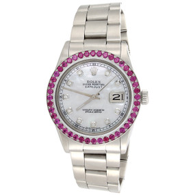 Men's 36mm Rolex DateJust Gemstone Ruby Bezel Watch MOP Dial 16014 | 3.08 CT.