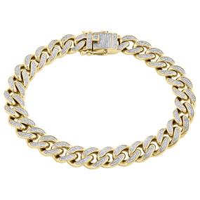 10K Yellow Gold Diamond Box Clasp Lock Miami Cuban Link Bracelet 10mm | 1.35 CT.