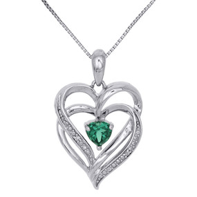 .925 Sterling Silver Created Emerald & Diamond Heart Pendant 0.01 Ct. w/ Chain