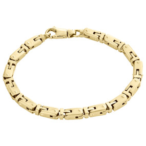 14K Yellow Gold Solid Handmade Italian Fancy Link Statement Bracelet 6.50mm | 9""