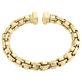 14K Yellow Gold Italian Handmade Braided Flexible Cuff Bangle 8.50mm Bracelet 8""