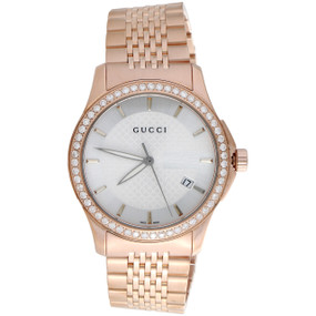f25dd9e3a85 Gucci Ya126401 Diamond Watch White Dial 38mm Stainless Steel Rose PVD 1.75  CT.
