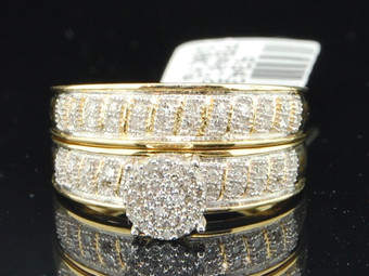 10K Ladies Yellow Gold Pave Flower Head Diamond Engagement Ring Bridal Set Band 0.22 Ct.
