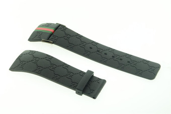 Mens Real Gucci Black Rubber Band with Red & Green Flag Only For Ya114207 Models