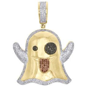 "10K Yellow Gold Real Diamond Ghost Emoji Pendant 1.60"" Unisex Pave Charm 0.93 CT"