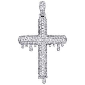 "10K White Gold Genuine Round Diamond Drip Cross Pendant Mens 2"" Charm 3.82 CT."