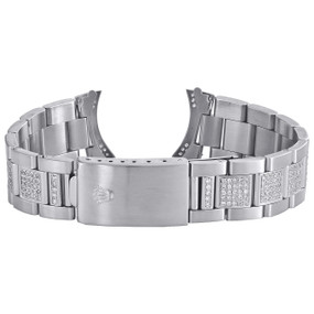Men's Custom Diamond Oyster Watch Band to Fit 36mm Rolex DateJust Case 3.86 CT.