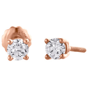 14K Rose Gold Round Cut Diamond Solitaire Studs 4 Prong Basket Earrings 1/2 CT.
