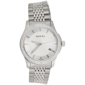 3758ca2e2be Gucci Ya126401 Genuine Diamond Watch Silver Dial G Timeless 38mm Steel 1.75  CT.