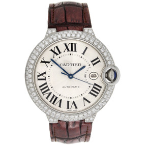 Ballon Bleu De Cartier 42mm Mens Silver Dial Diamond Watch Ref. W69016Z4 3.50 CT